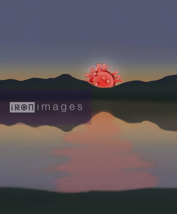 Coronavirus micro organism as setting sun - Gary Waters