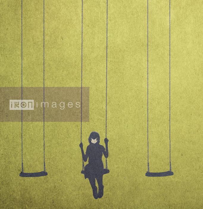 Girl on swing wearing face mask - Gary Waters