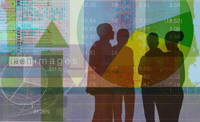 Businessmen and businesswoman discussing financial data - Roy Scott