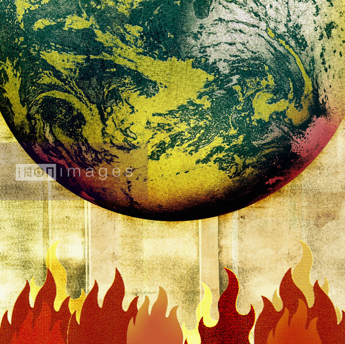 Planet earth, flames and global warming - Roy Scott