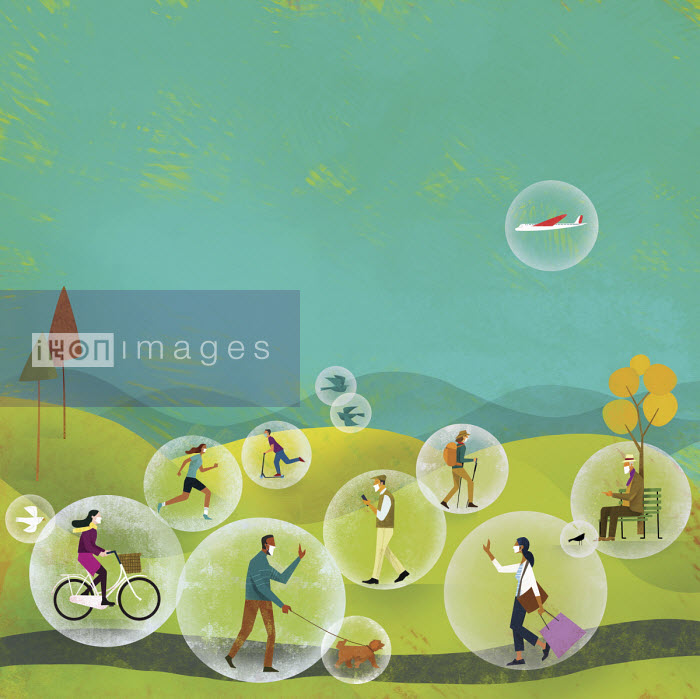 People on the move protected in bubbles - Gregory Baldwin