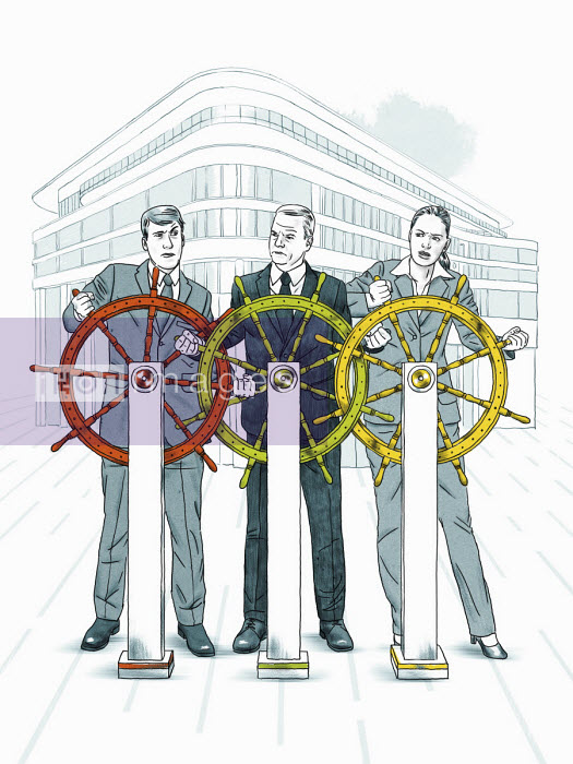 Business people competing to control ship's wheel - Thomas Kuhlenbeck