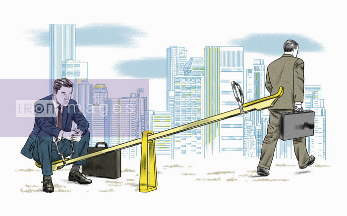 Businessman leaving colleague alone on seesaw - Thomas Kuhlenbeck