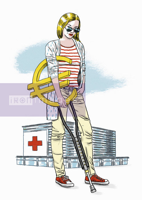 Hospital patient with euro sign crutch - Thomas Kuhlenbeck