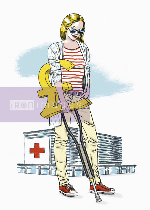 Hospital patient with pound sign crutch - Thomas Kuhlenbeck