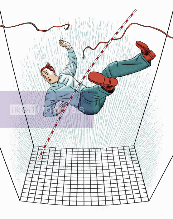 Businessman falling from broken tightrope into safety net - Thomas Kuhlenbeck