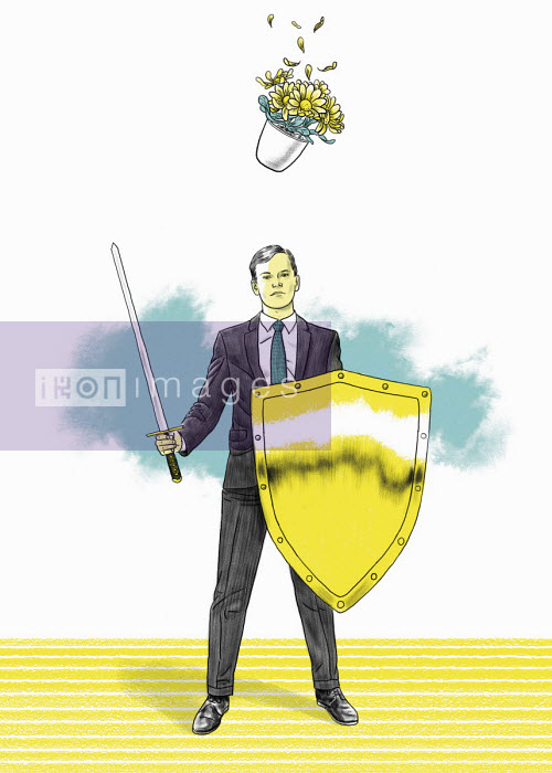 Businessman with sword and shield oblivious to falling plant pot - Thomas Kuhlenbeck