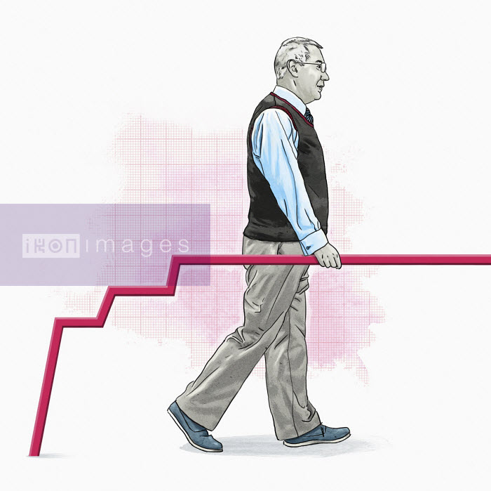 Older man using line graph as handrail - Thomas Kuhlenbeck