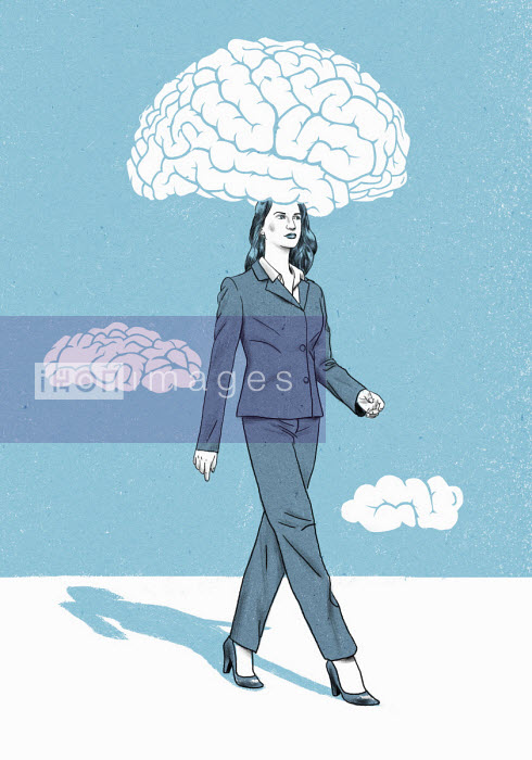 Businesswoman with head in brain cloud - Thomas Kuhlenbeck