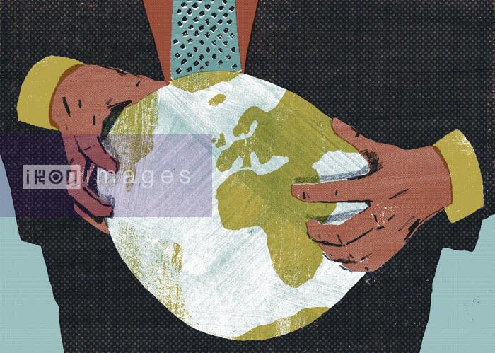 Businessman squeezing the globe - Daniel Haskett