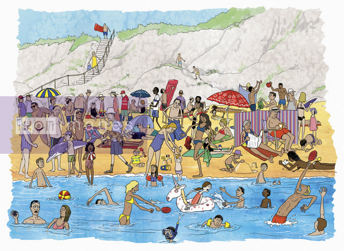 Lots of people on crowded summer beach - Andrew Pinder