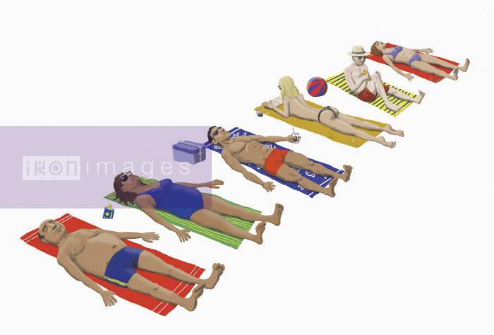 Row of people sunbathing - Andrew Pinder
