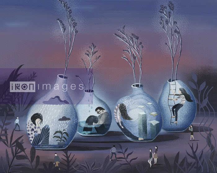 Depressed people trapped inside of flower vases - Li Zhang
