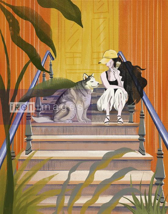 Girl with pet dog sitting on front door steps - Li Zhang