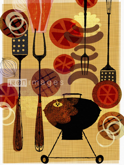 Montage of food and utensils for barbecue - Donna Grethen