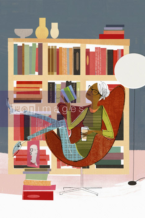 Woman relaxing reading - Donna Grethen