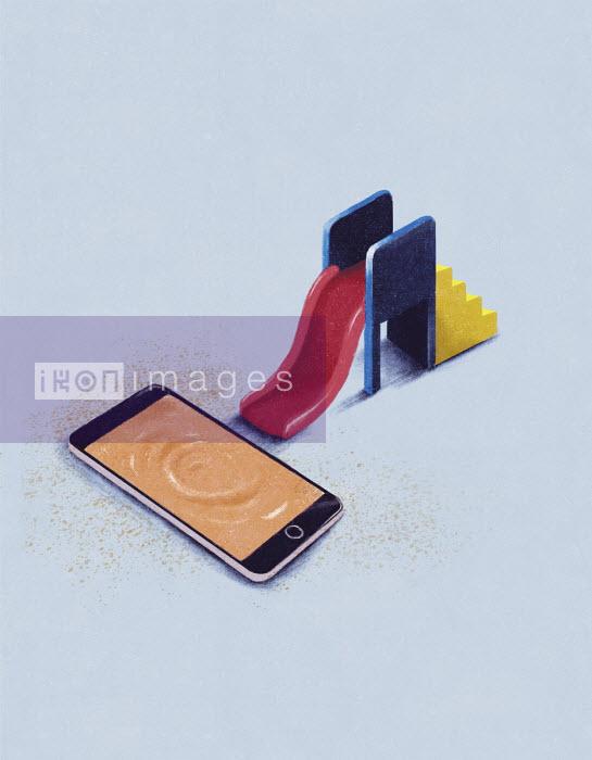 Child's slide next to rippling smart phone screen - Daniel Liévano