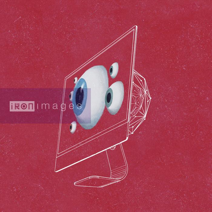 Eyeballs looking out from computer screen - Daniel Liévano