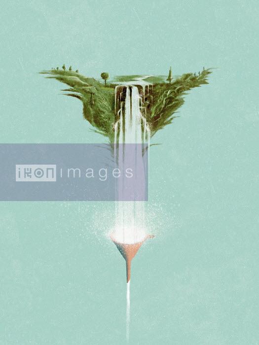 Waterfall falling into funnel - Daniel Liévano
