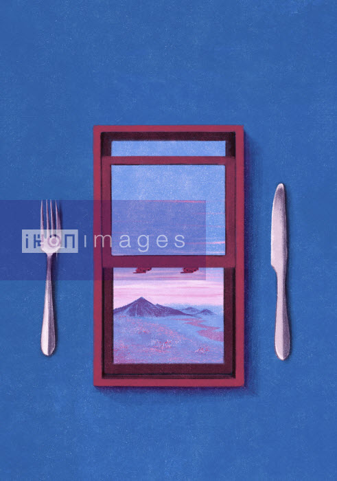 Knife and fork either side of window - Daniel Liévano