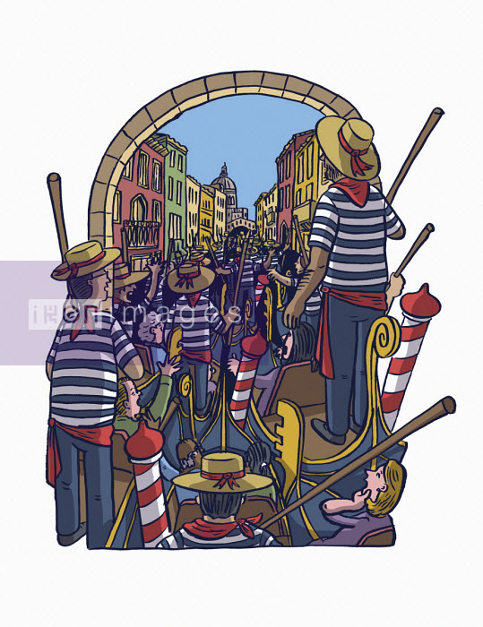 Gondolas in traffic jam on canal in Venice - Dom McKenzie