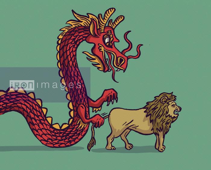 Chinese dragon pulling tail of British lion - Dom McKenzie