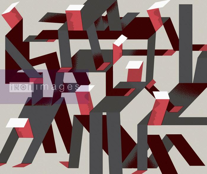 Geometric businessmen forming human pyramid - Otto Dettmer