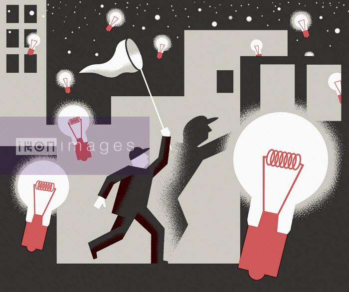 Man chasing illuminated light bulbs with butterfly net - Otto Dettmer
