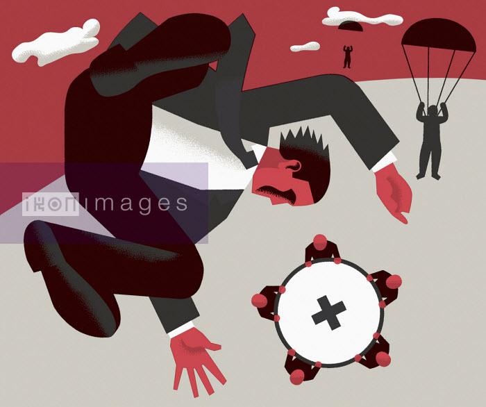 People holding safety net below falling businessman - Otto Dettmer