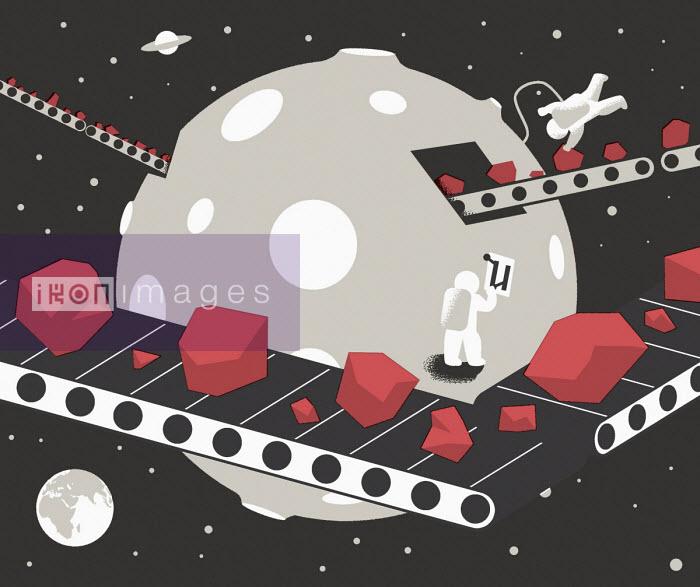 Astronauts mining in space - Otto Dettmer