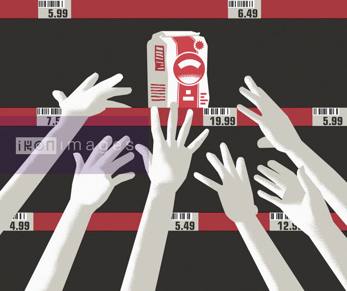Hands reaching for last packet on supermarket shelf - Otto Dettmer