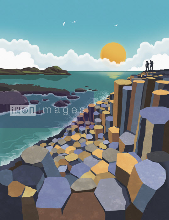 Illustration of the Giant's Causeway, Northern Ireland - Dan Mitchell