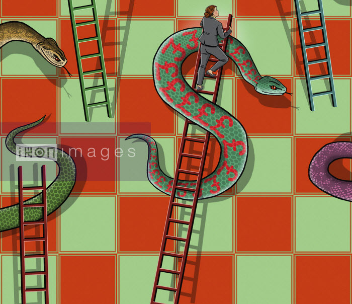 Businesswoman climbing dollar sign ladder avoiding pound sign snake - Dan Mitchell
