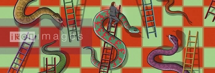 Businesswoman climbing dollar sign ladder avoiding pound sign snake - Dan Mitchell