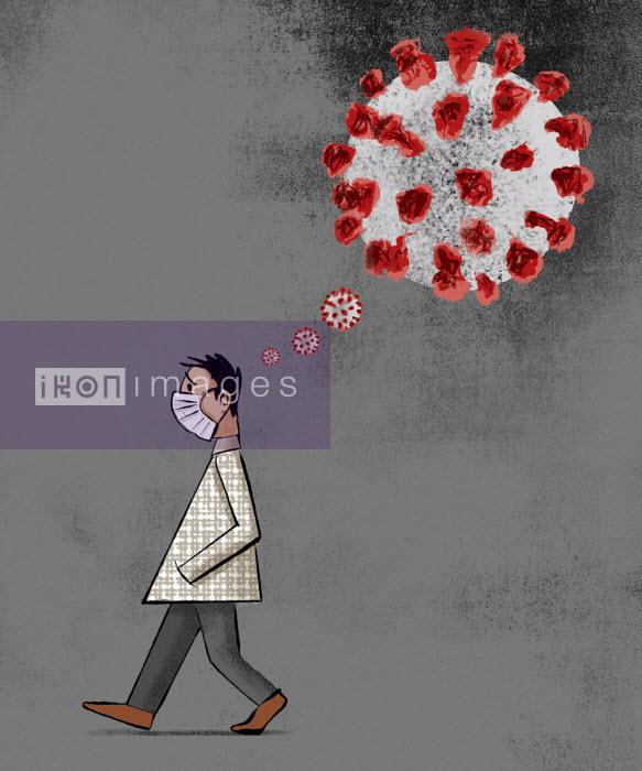 Anxious man wearing mask thinking about coronavirus - Michael Villegas