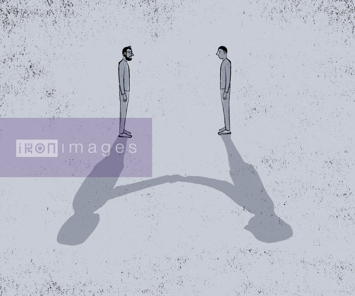 Two men standing apart with shadows shaking hands - Michael Villegas