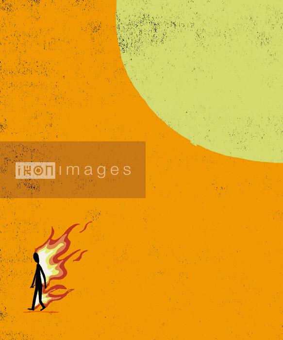 Man on fire from sun - Michael Villegas