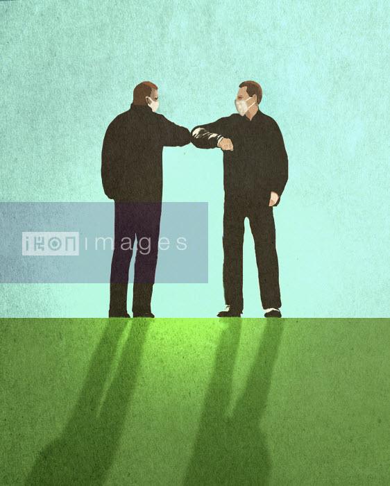 Men meeting wearing masks doing elbow bump - Gary Waters