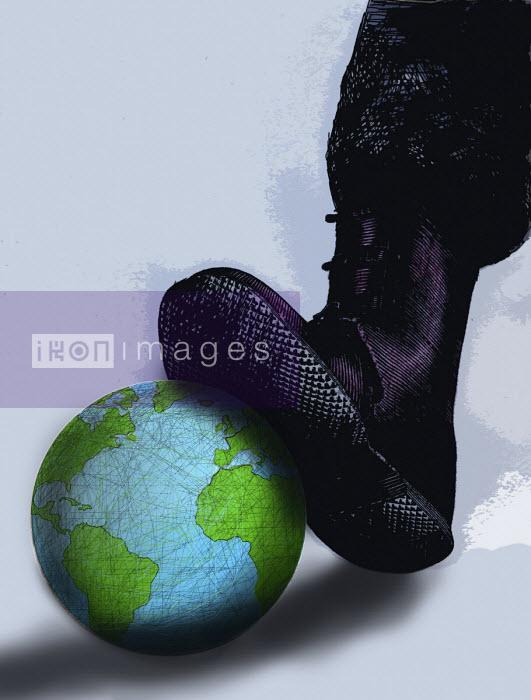 Military boot crushing globe - Gary Waters