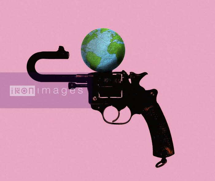 Bent barrel of gun pointing at globe - Gary Waters