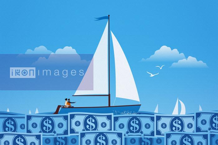 Couple sailing on calm dollar note sea - Mark Airs