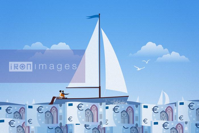 Couple sailing on calm euro note sea - Mark Airs