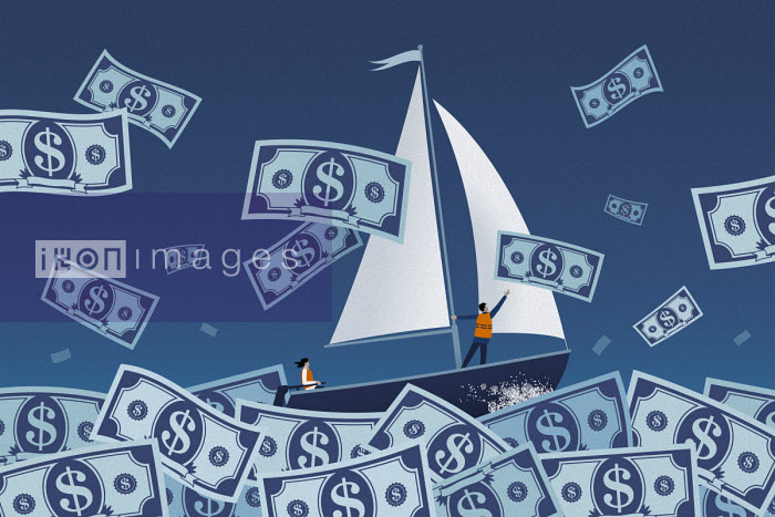 Couple sailing on stormy dollar note sea - Mark Airs