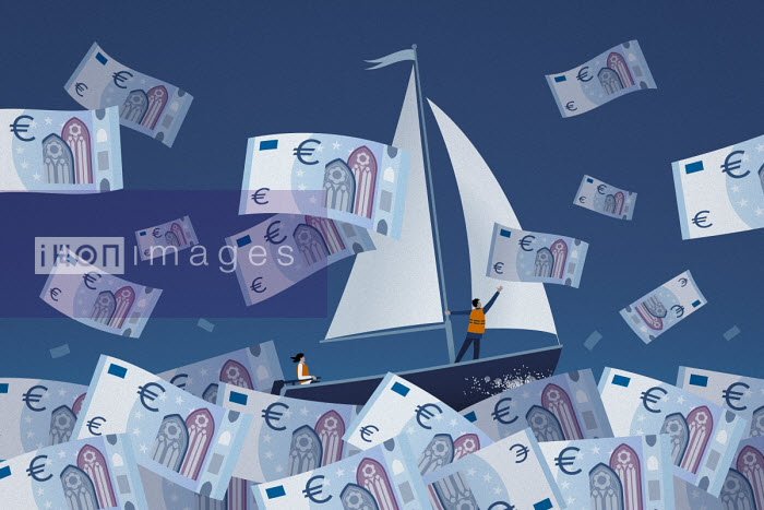 Couple sailing on stormy euro note sea - Mark Airs