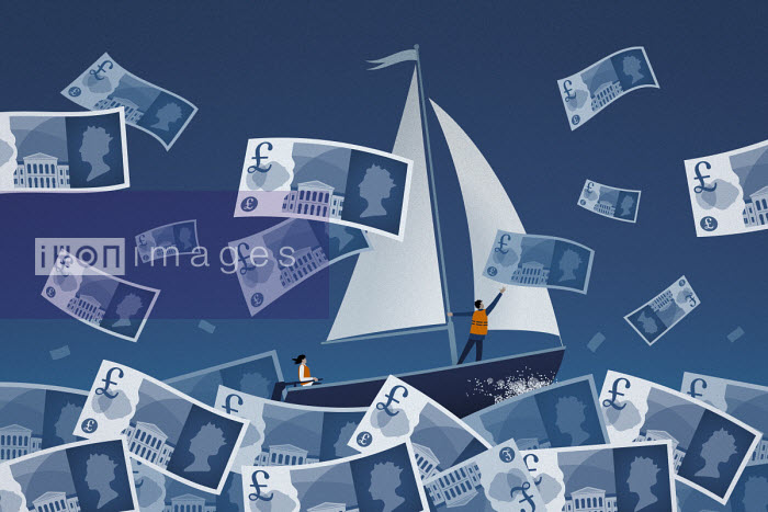 Couple sailing on stormy pound note sea - Mark Airs