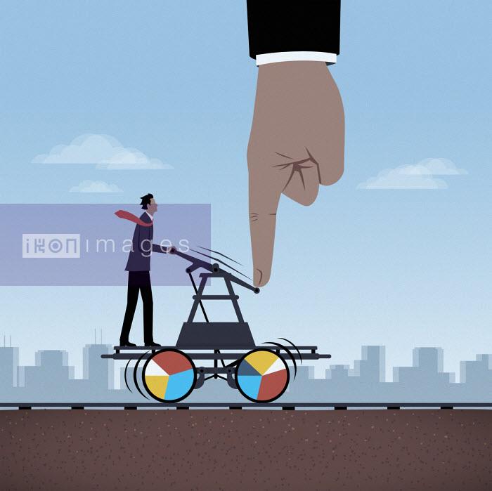 Large hand helping businessman work railroad handcar - Mark Airs