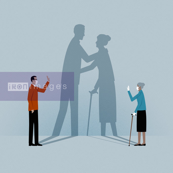 Son and elderly mother social distancing - Mark Airs