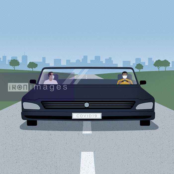 Men social distancing in wide car - Mark Airs