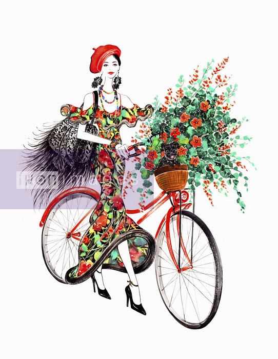Beautiful woman pushing bicycle with dog and flowers in basket - Sunny Gu