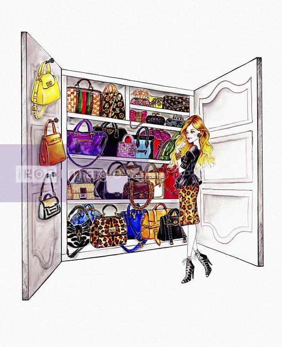 Woman choosing from wardrobe full of handbags - Sunny Gu